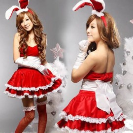 QX332  Sexy Halter Bunny Christmas Clothing, Christmas Set,  Santa' clothing, Xmas Party Costumes, Sexy Lingerie, Sex Underwear