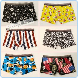 YW003 2014 new arrival mens boxer brave person bones cartoon pattern men's underpants low waist hipster shorts men
