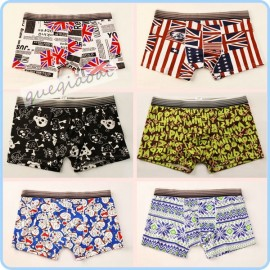 YW010 High quality fashion swimming trunks pull in chinese style pattern american flag underwear penis pouch men boxers