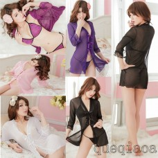 Z015-40 Female Sexy lace long-sleeved lace bow Low-cut  Deep V-neck  Exposed breasts sexy lingerie short nightgown