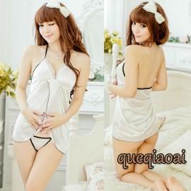 Z032-20 summer dress 2014 solid black border babydoll+open thong low-cut halter off the shoulder plus size lingerie