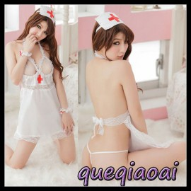 Z067-15 Fashion fantasia women sexy nurse costume lace halter backless sexy underwear+open thong cosplay sexy lingerie