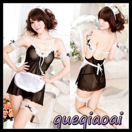 Z070-15 New 2014 Fashion fantasia halter perspective sleepwear+open thong sexy costumes maid sexy lingerie