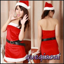 Z076-20 summer dress 2014 fantasia women chrismas sexy costumes strapless off the shoulder sexy lingerie