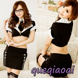 Z078-15 Fashion fantasia lapel callor tie+sexy underwear+sexy skirt clothing set school teacher sexy costume sexy lingerie