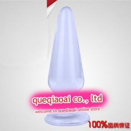retail que0142 glass dildo, Can adjust the temperature through the water, High-quality sex toys, glass anal plug